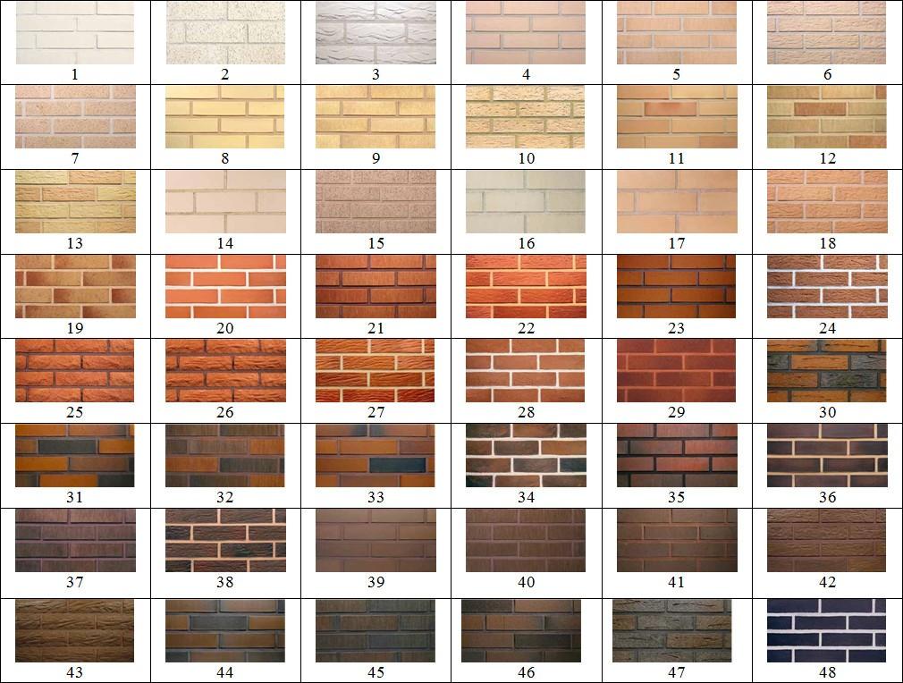 цветовая гамма облицовочного кирпича